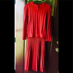 Vintage 70's Cherry Red Pleated Skirt Matching Top